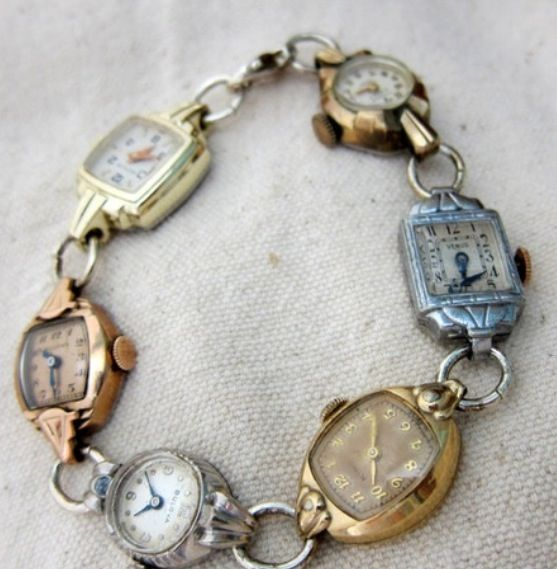 Old watch faces repurposed into a bracelet