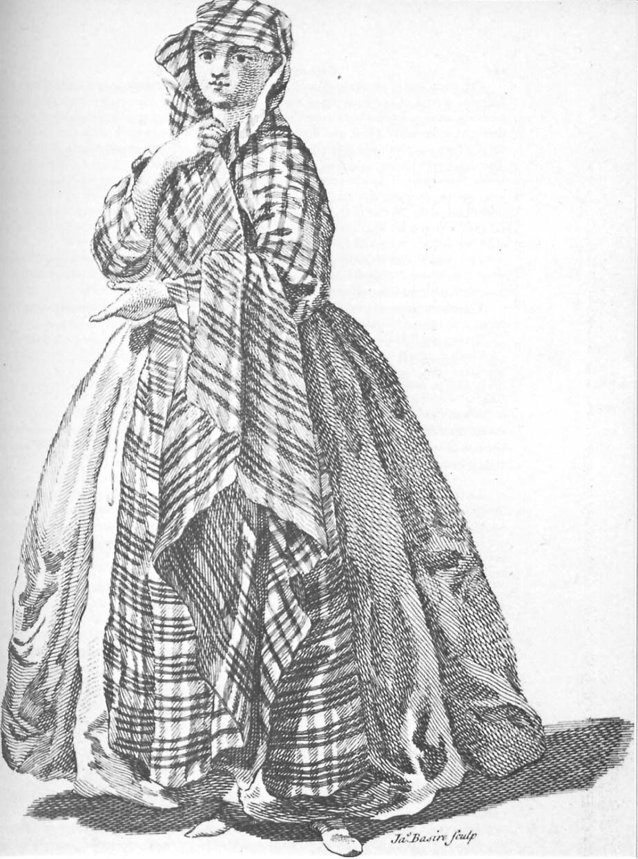 Illustration from 1745 showing a woman wearing an arisaid.