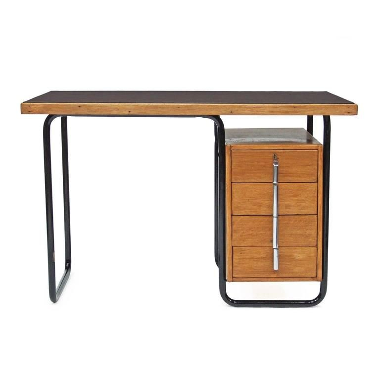 1930s Bauhaus Oak Desk by Welles Coates for Kingfisher