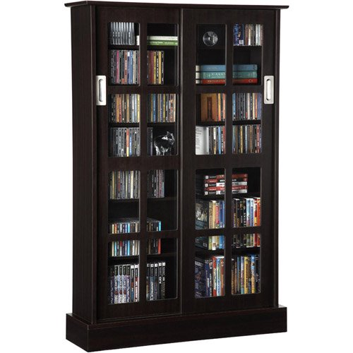 Atlantic 49 Windowpane Media Storage Shelf Cabinet With Sliding Glass Doors 576 Cds 192 Dvds 215 Blurays Espresso Walmart Com In 2020 Sliding Glass Door Media Storage Cabinet Dvd Cabinets