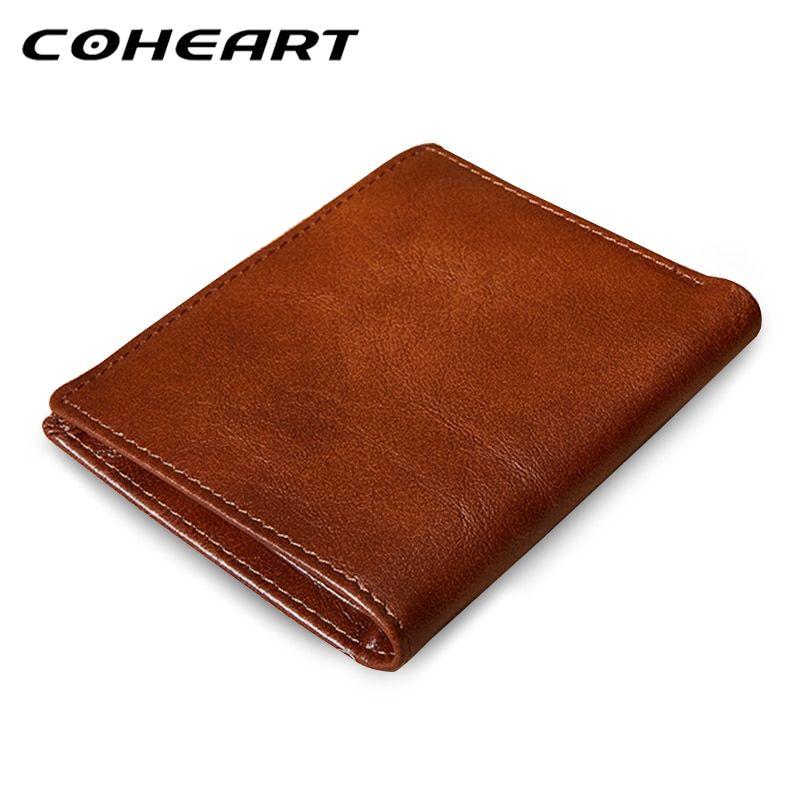 5a1d8654e9 COHEART cowhide wallet men genuine leather wallet vintage purse top ...