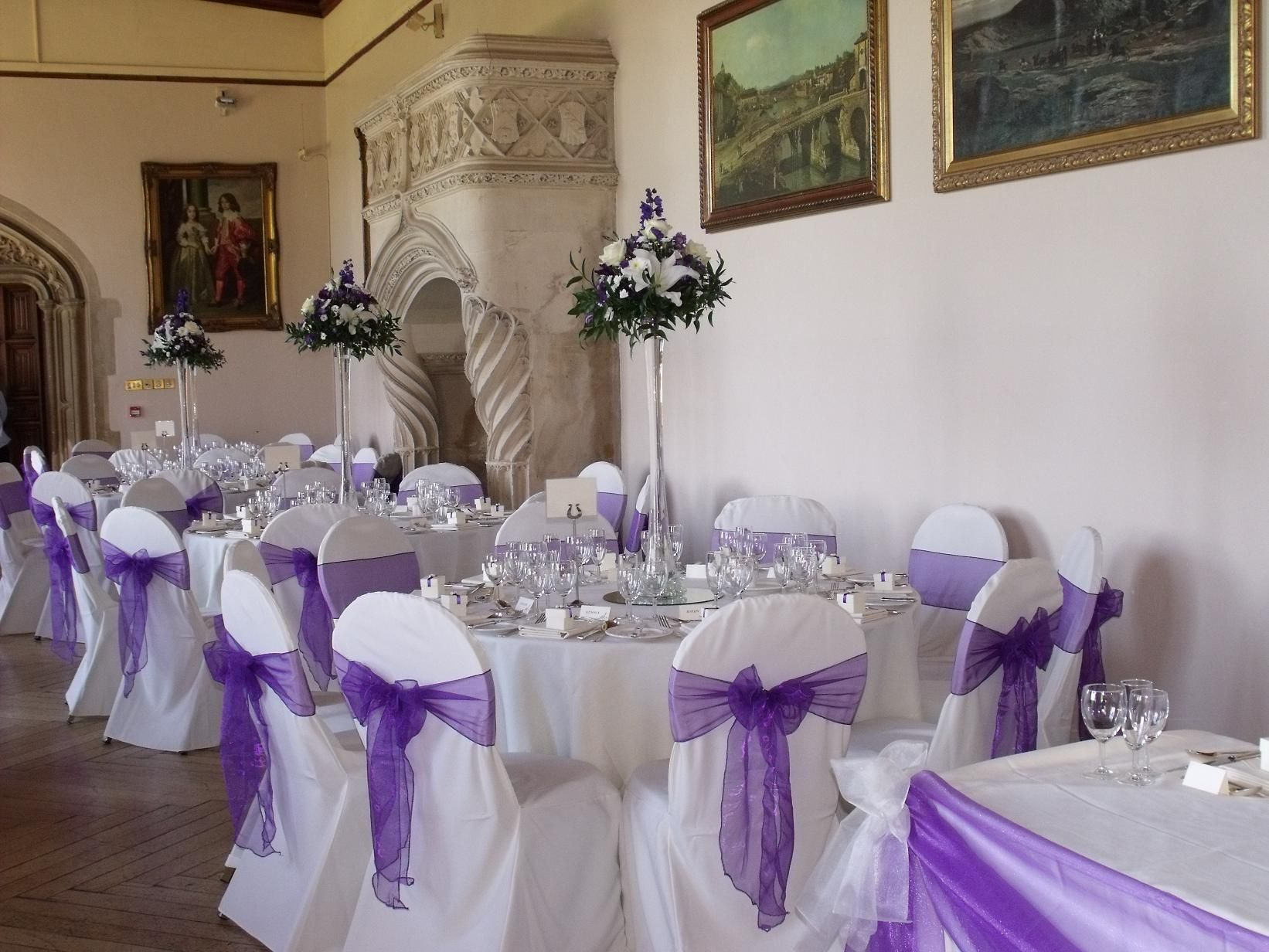 Purple Chair Sashes For Weddings Tufted On White Banquet Covers With Tower
