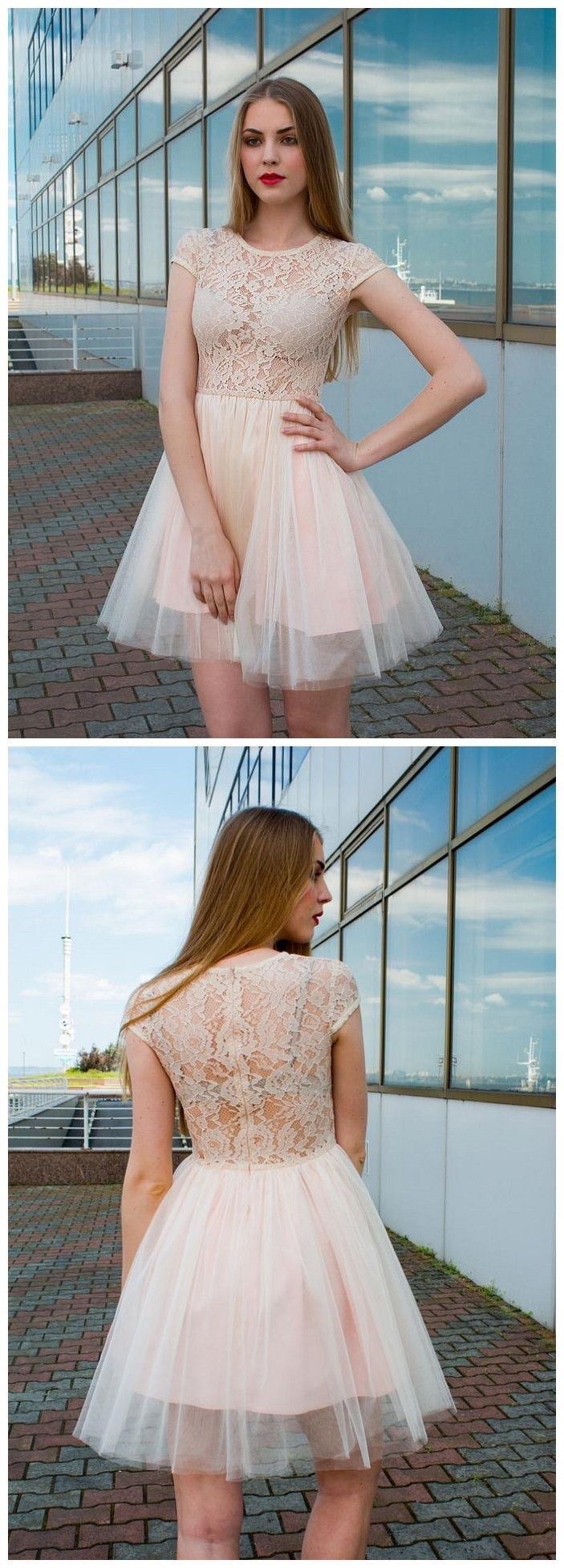 Simple homecoming dresses aline lace cheap short prom dress chic