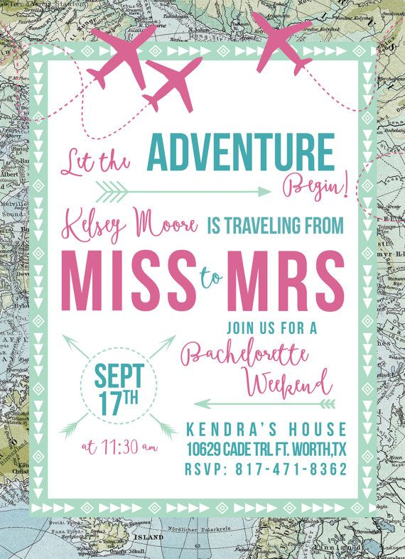 Traveling From Miss To Mrs Bachelorette Invitation Hens Party