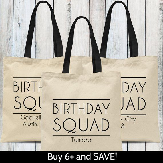 Custom Birthday Squad Tote Bags Personalized Matching Trip