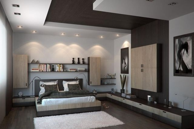 faux plafond moderne dans la chambre coucher et le salon. Black Bedroom Furniture Sets. Home Design Ideas