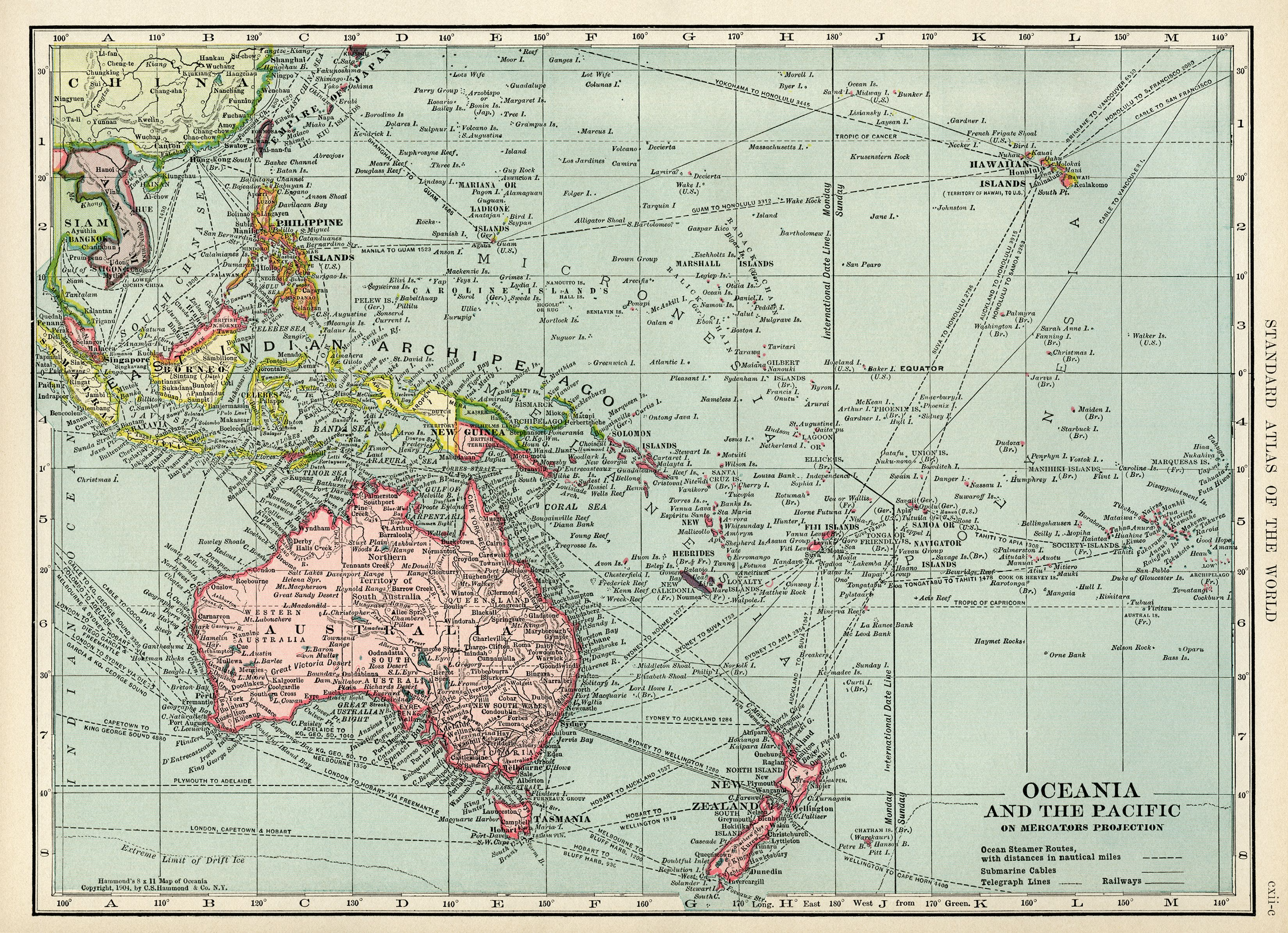 Oceania And Pacific Map Vintage Download Antique C S Hammond Of Ocean Islands