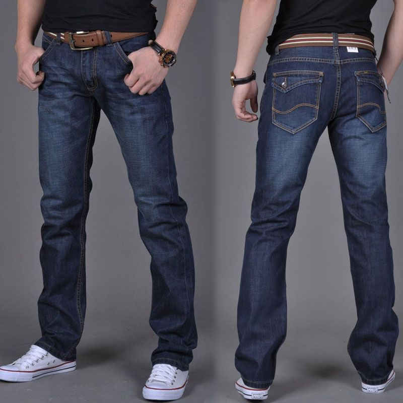 2016 new fashion mens blue straight slim casual mens loose jeans Male burst  models dark blue