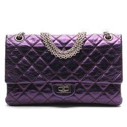 d573bdb3b653 Chanel Violet Metallic Leather 227 Reissue Mademoiselle Flap Handbag ...