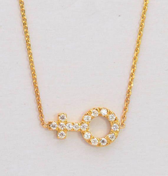 女性のダイヤモンドネックレス Venus Symbol Necklace Natural Diamonds Gold Female Symbol Danelianjewelry Sign Sym Solid Gold Charms Summer Jewelry Trends Womens Necklaces
