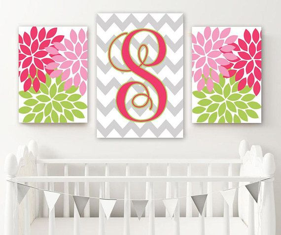 Flower monogram girl nursery decor pink green lime bedroom wall art baby also yellow gray read me  story kiss rh pinterest