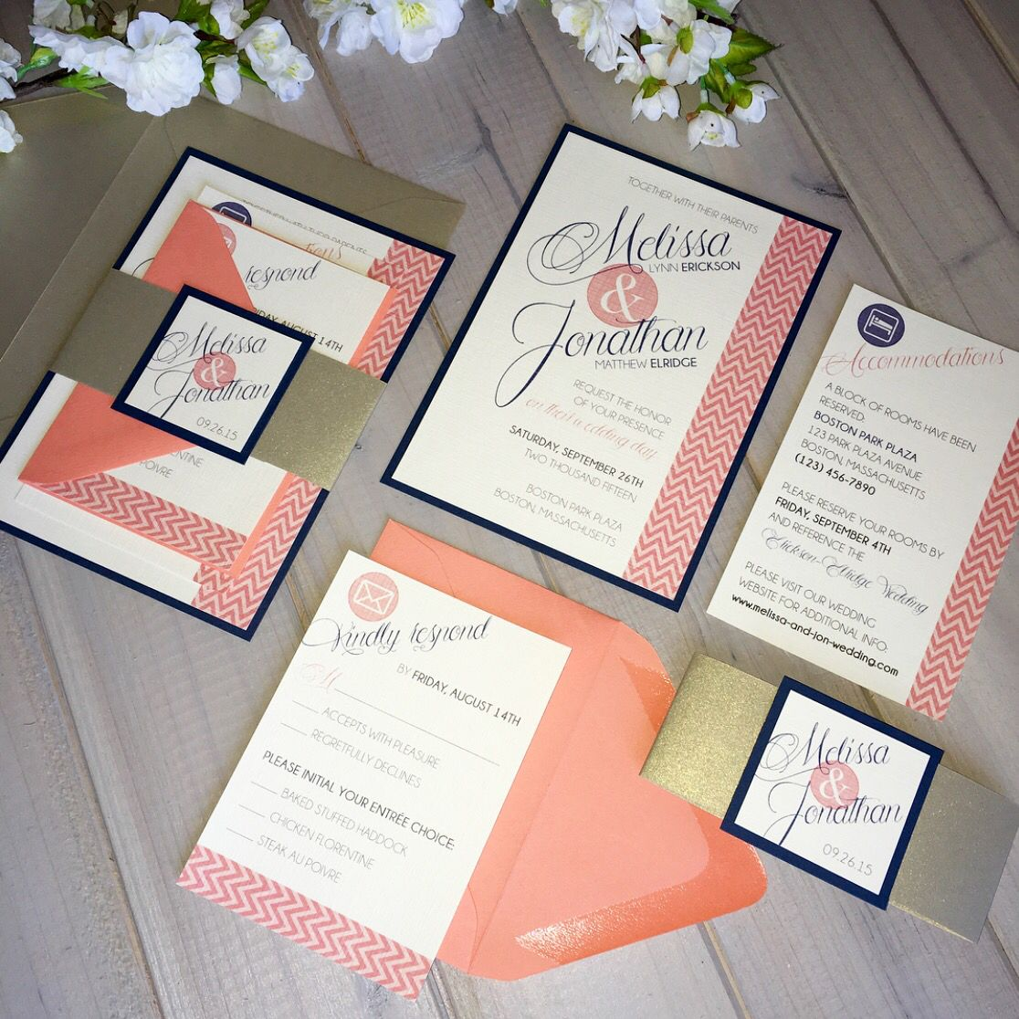 Coral Gold Navy Wedding Invitations On Ivory Linen With
