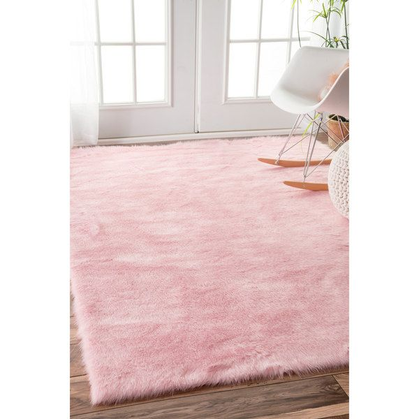 NuLOOM Cozy Soft And Plush Faux Sheepskin Shag Kids Nursery Pink Rug 76