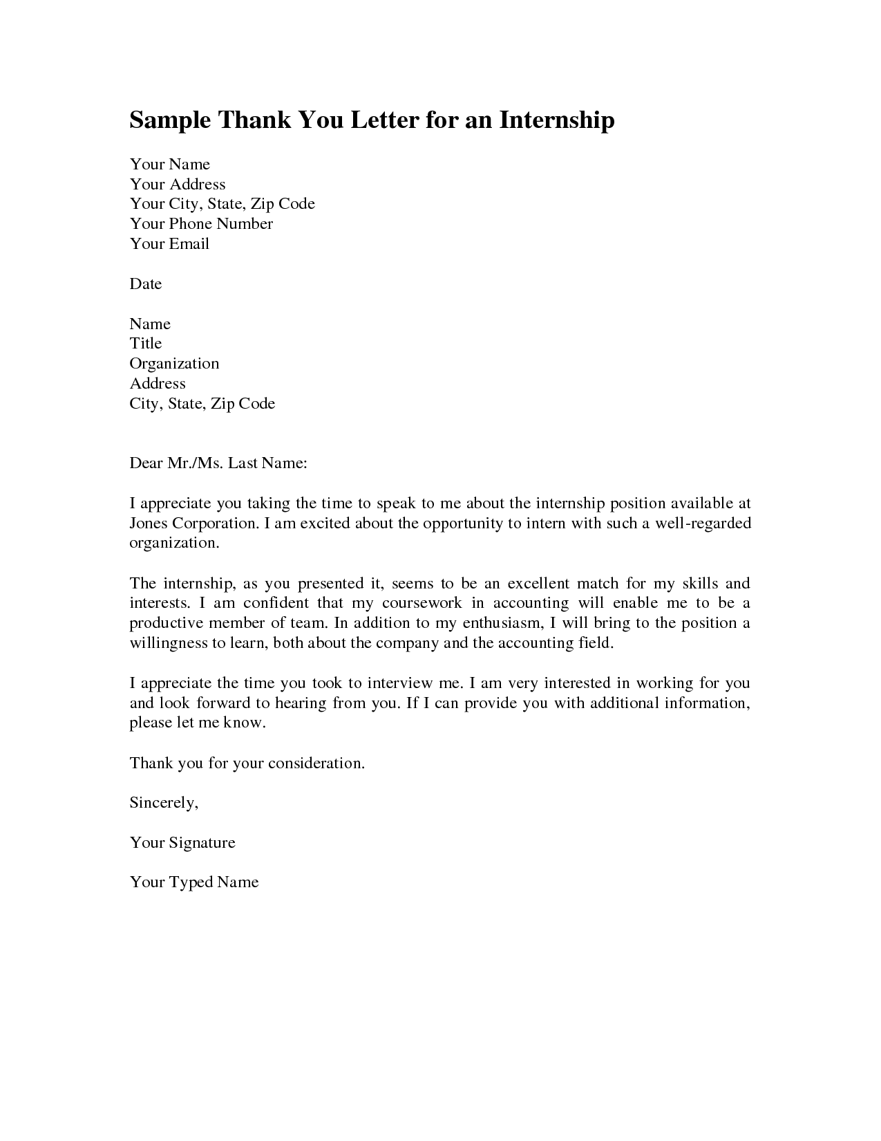 How Write Formal Thank You Letter After Internship Cover Gplusnick