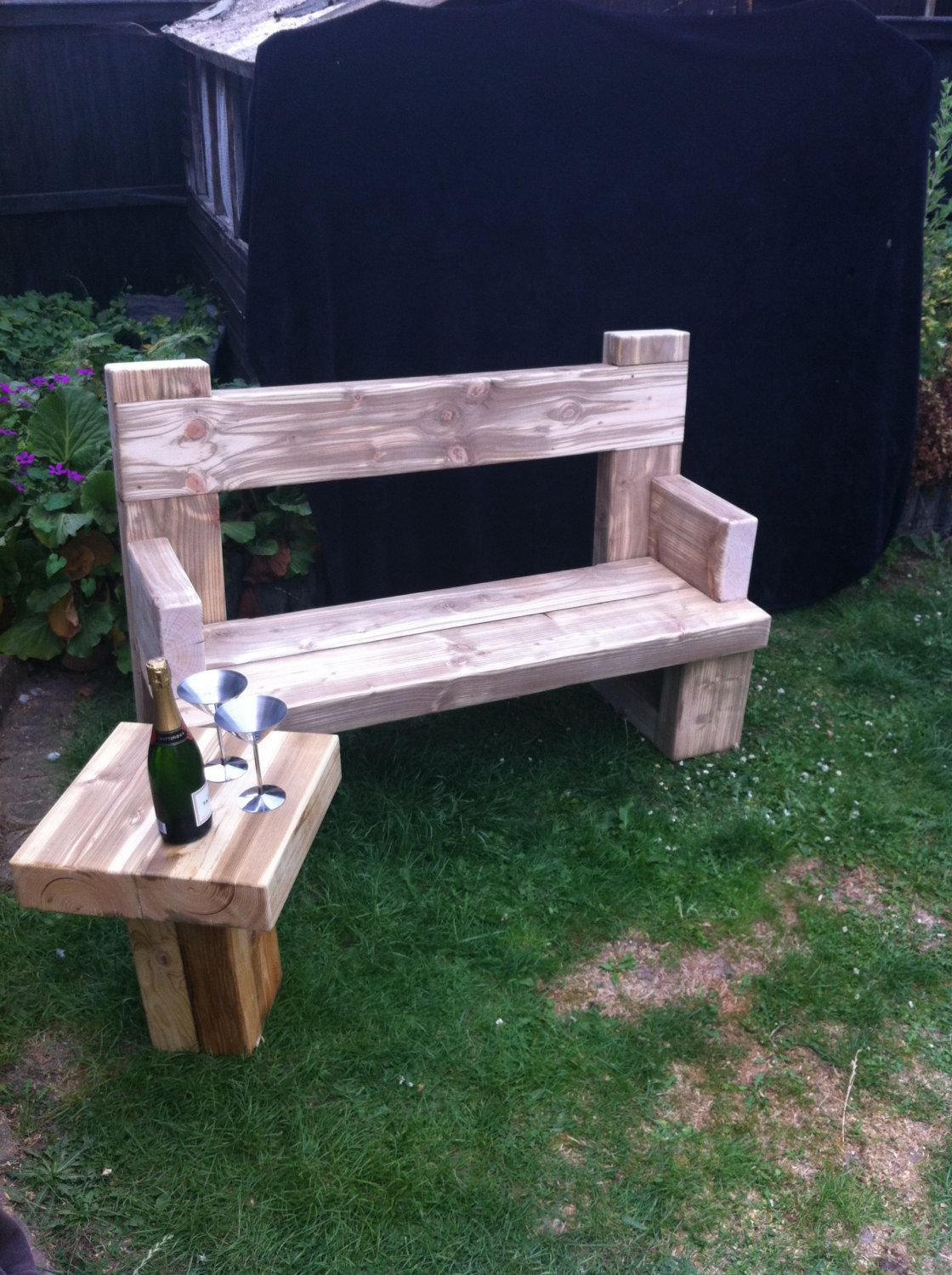 Chunky Solid Wood Handmade Garden Bench. Unique . CAVEMAN