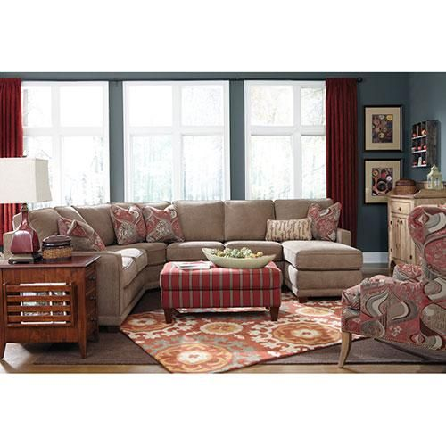 Sectional Kennedy From Lazyboy I Like The Neutral Couch And Colors Patterns In Other Pieces Of Furniture Living Room Redo Living Room Inspiration Furniture