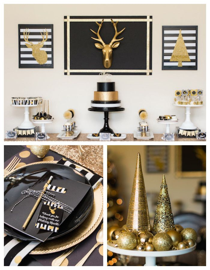 Classy Christmas Party Ideas Part - 47: Modern Black + Gold Christmas Party Via Karau0027s Party Ideas  KarasPartyIdeas.com