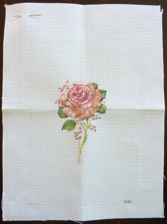 Candamar Designs Cross Stitch Pattern #5151 - Pink Rose - Printed Aida with Instructions