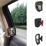 Car Safety Rearview Mirror 270 Degree Wide Angle Back Seat Door Inner Mirror Black