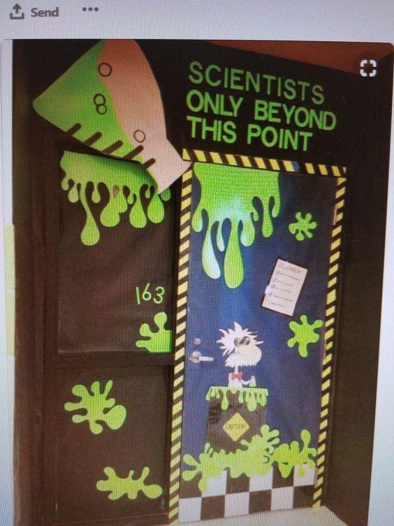 Adorable Halloween Classroom Doors with a Science Twist