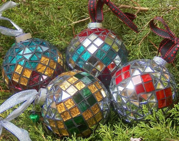 WHOLESALE  FREE SHIPPING Handmade and One of a Kind Mosaic Christmas Ornaments