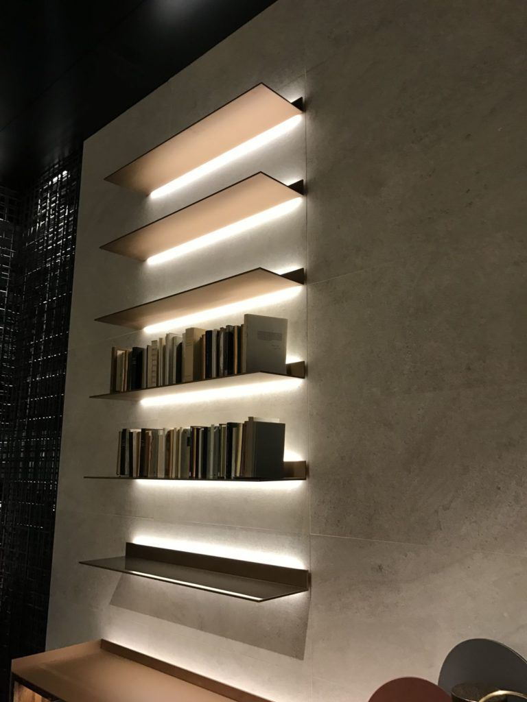Led Light Strips Are Very Effective At Making Wall Shelves And Their Contents Stand Out In A Dramatic Way Wall Shelves Design Wall Shelves Strip Lighting