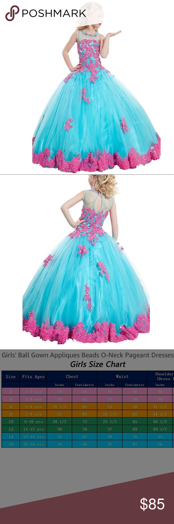 New pageant gown pink and blue size nwt my posh picks