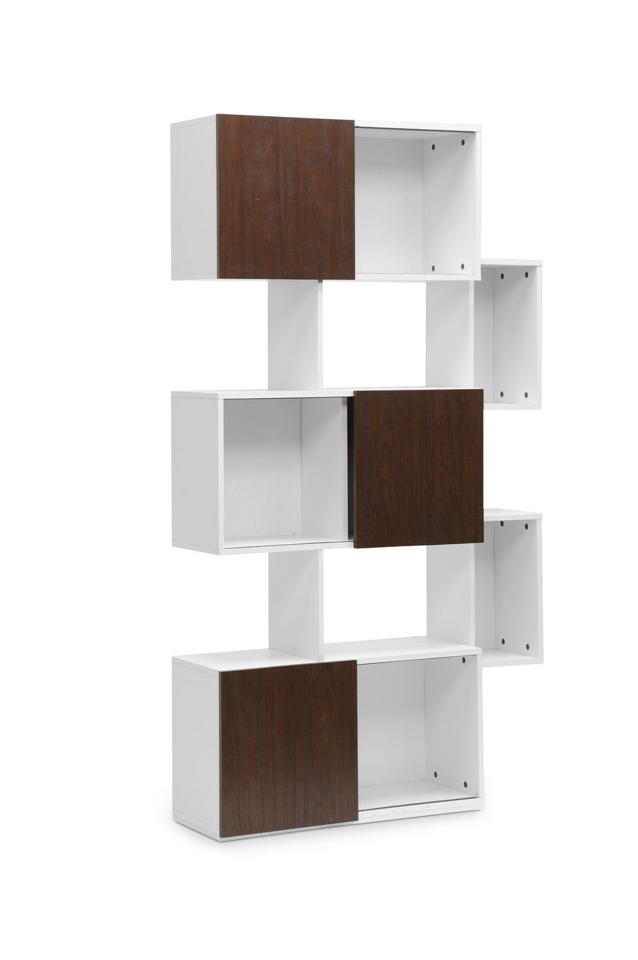 Chateau bookcase walnut leaning bookcase white modern bookcase walnut - Harriette White And Walnut Modern Bookshelf