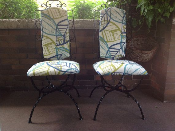 Wrought iron upholstered garden chairs by DesignsthatClick on Etsy, $89.00