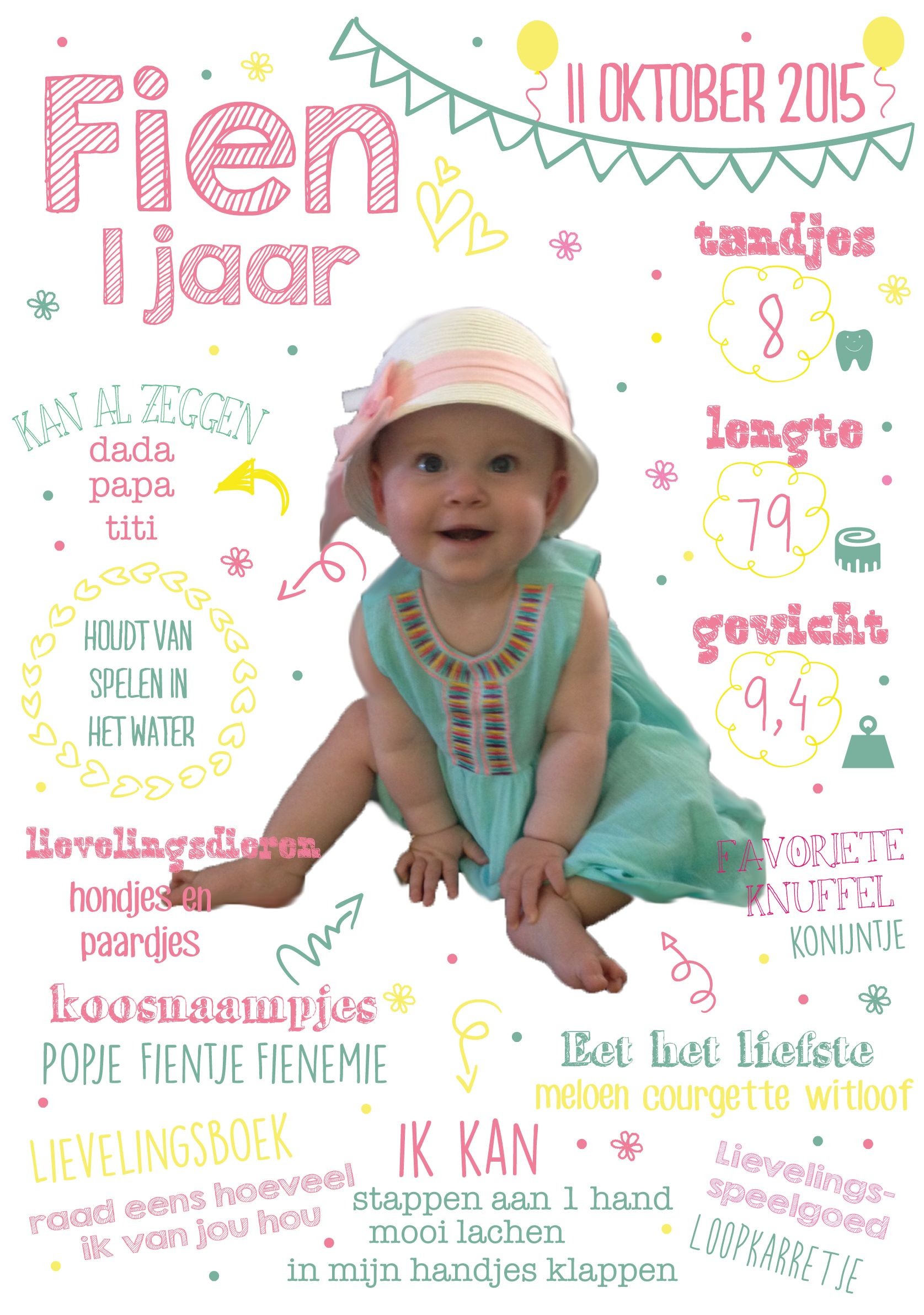 Spiksplinternieuw eerste verjaardag 1 jaar foto meisje feest uitnodiging uniek EI-21