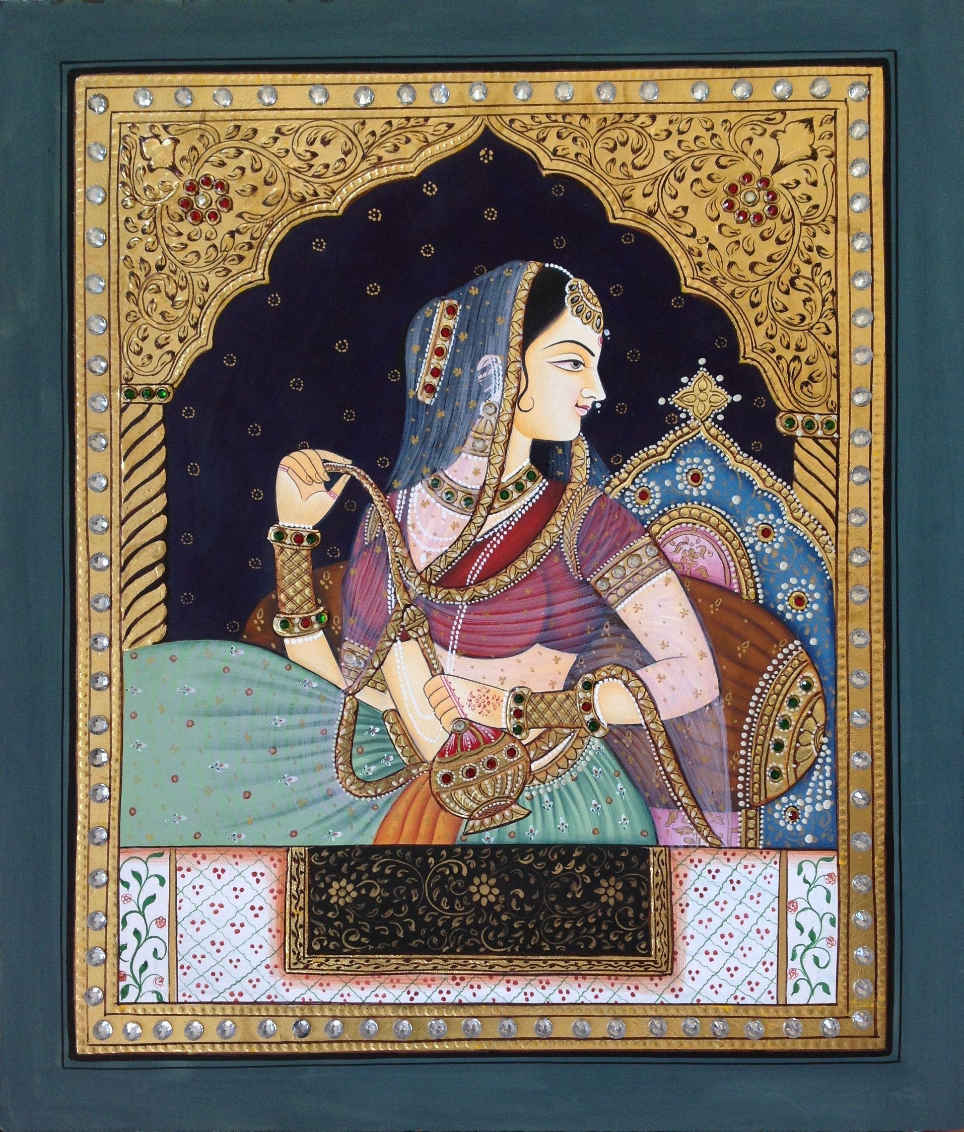 Tanjore Rajasthani Rani Painting Handmade Indian Thanjavur ...