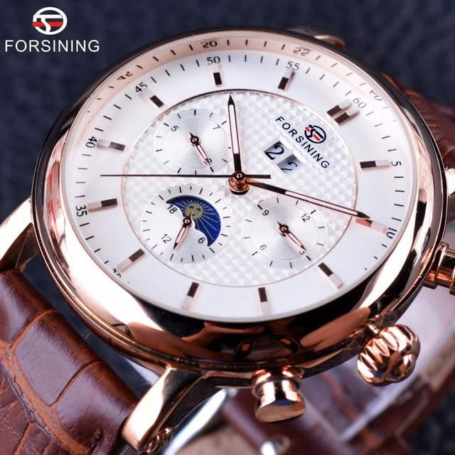 Forsining 2017 Luxury Rose Golden Series Moon Phase Calendar Design h Top Brand Luxury Automatic Male Wrist Watch