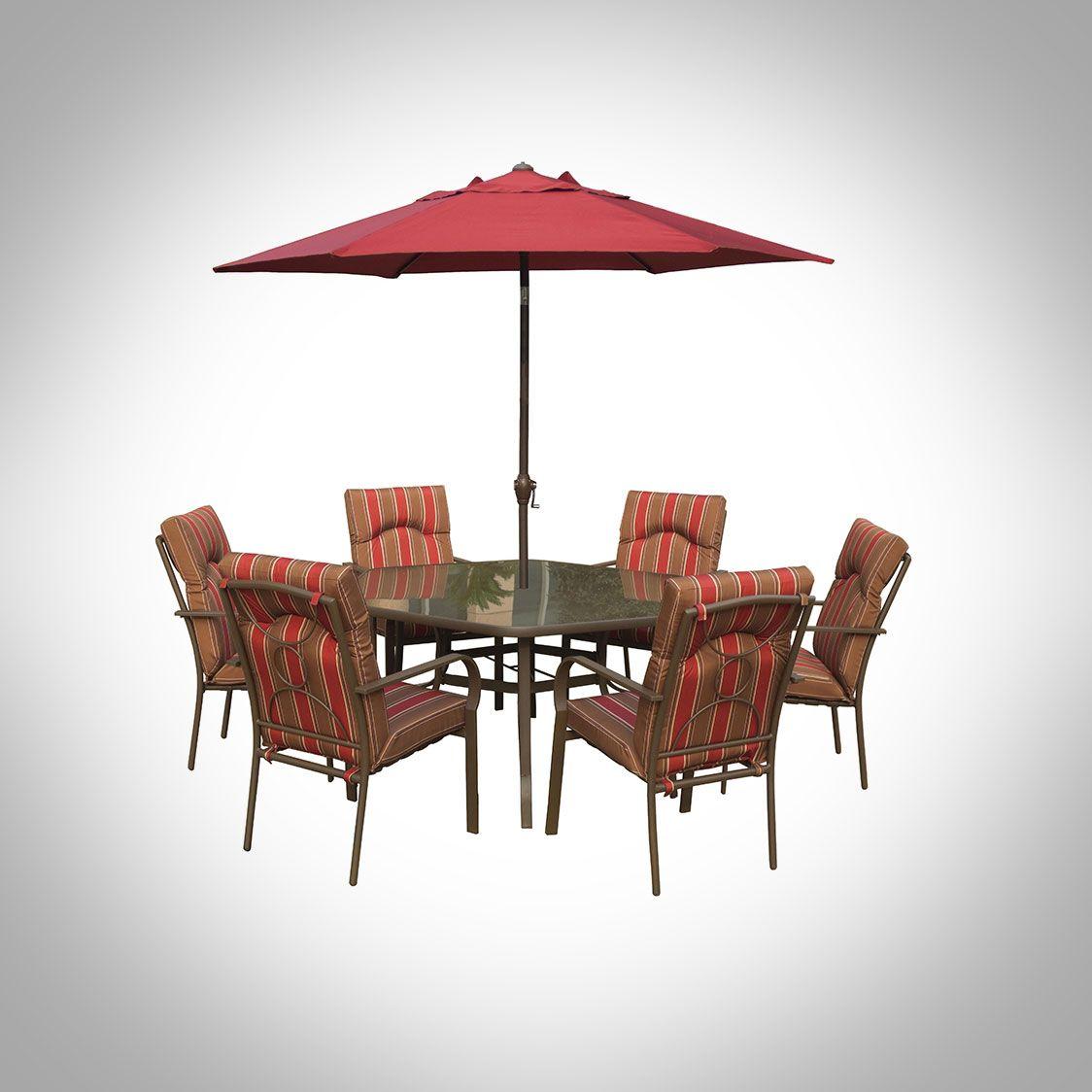 Amalfi 6 Seater Hexagonal Dining Set With Burgundy Parasol 400 x 300