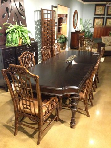 This Island Edge Nine Piece Dining Room Set From Tommy Bahama Gathers Your Family In A Tropical And Comfortable Way Dining Dining Room Large Furniture