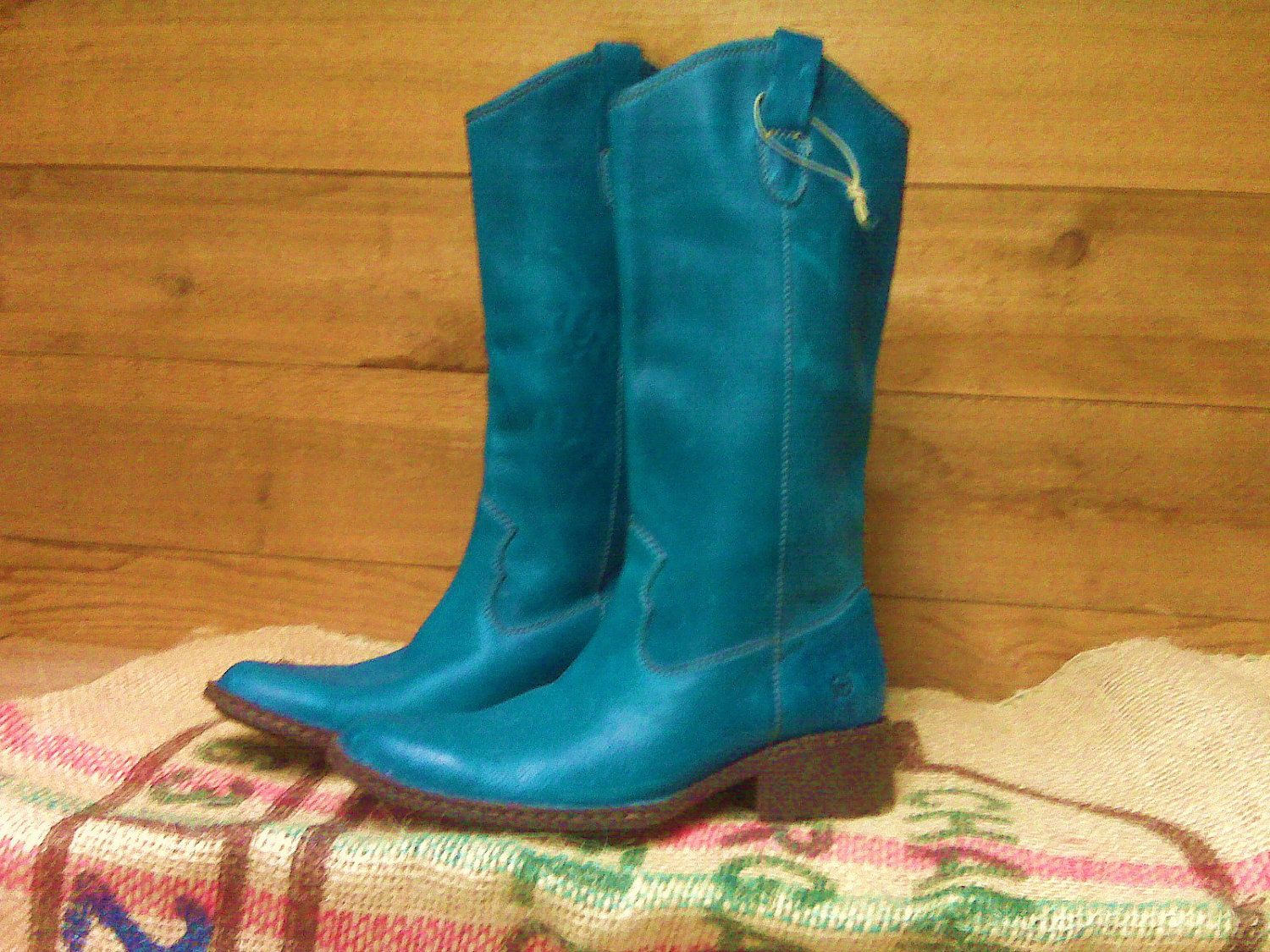 98a7f808695 vintage shoes | Vintage Born Deep Turqoise Teal/Blue Cowboy Boots by ...