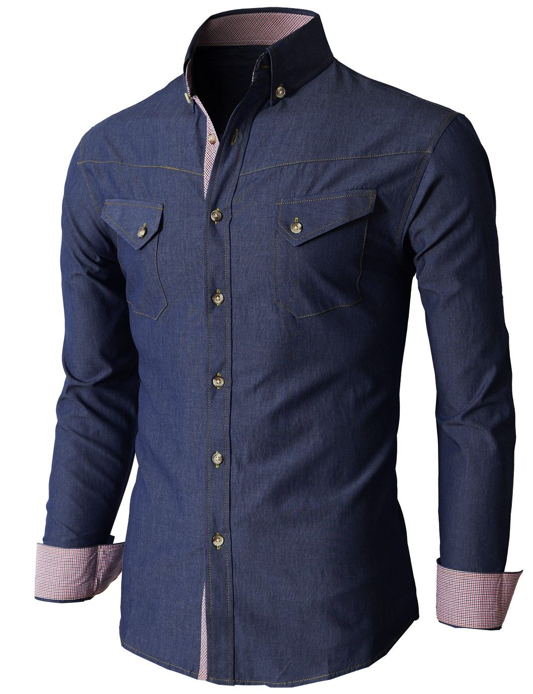 Doublju Men's Denim Slim Fit Button Down Shirts Of Various Design ...