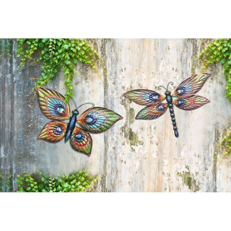 Sunjoy Erfly And Dragonfly Outdoor Wall Art 110311006