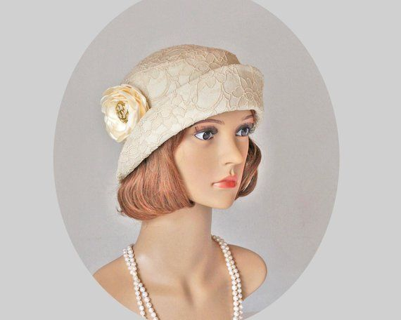 99cee4a6b484ed Lovely Downton Abbey cloche hat with folded brim, 1920s flapper hat, Great  Gatsby hat, 20s tea hat,