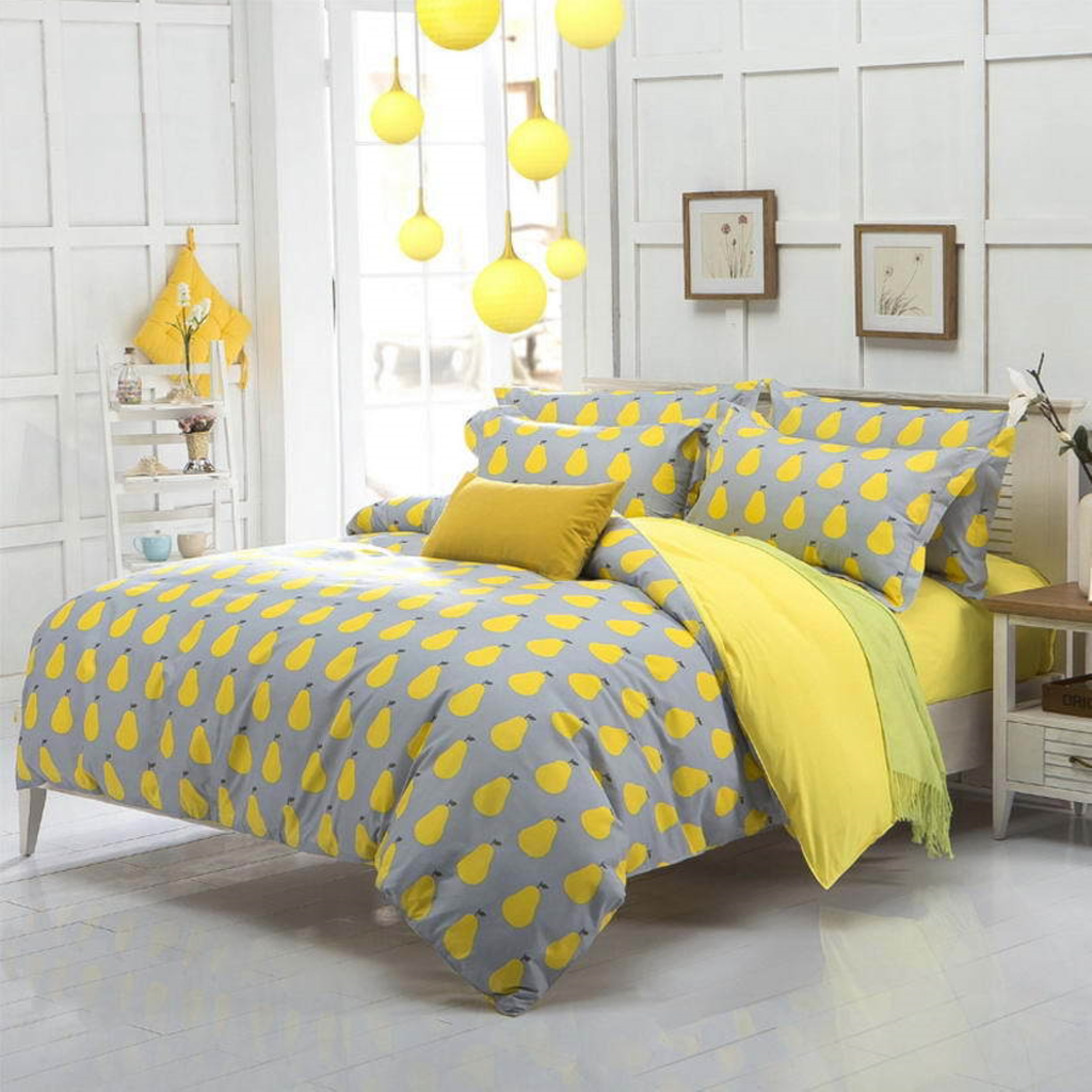 yellow gary with pair print women 39 s teenager 39 s bedding set duvet cover king queen full size for. Black Bedroom Furniture Sets. Home Design Ideas