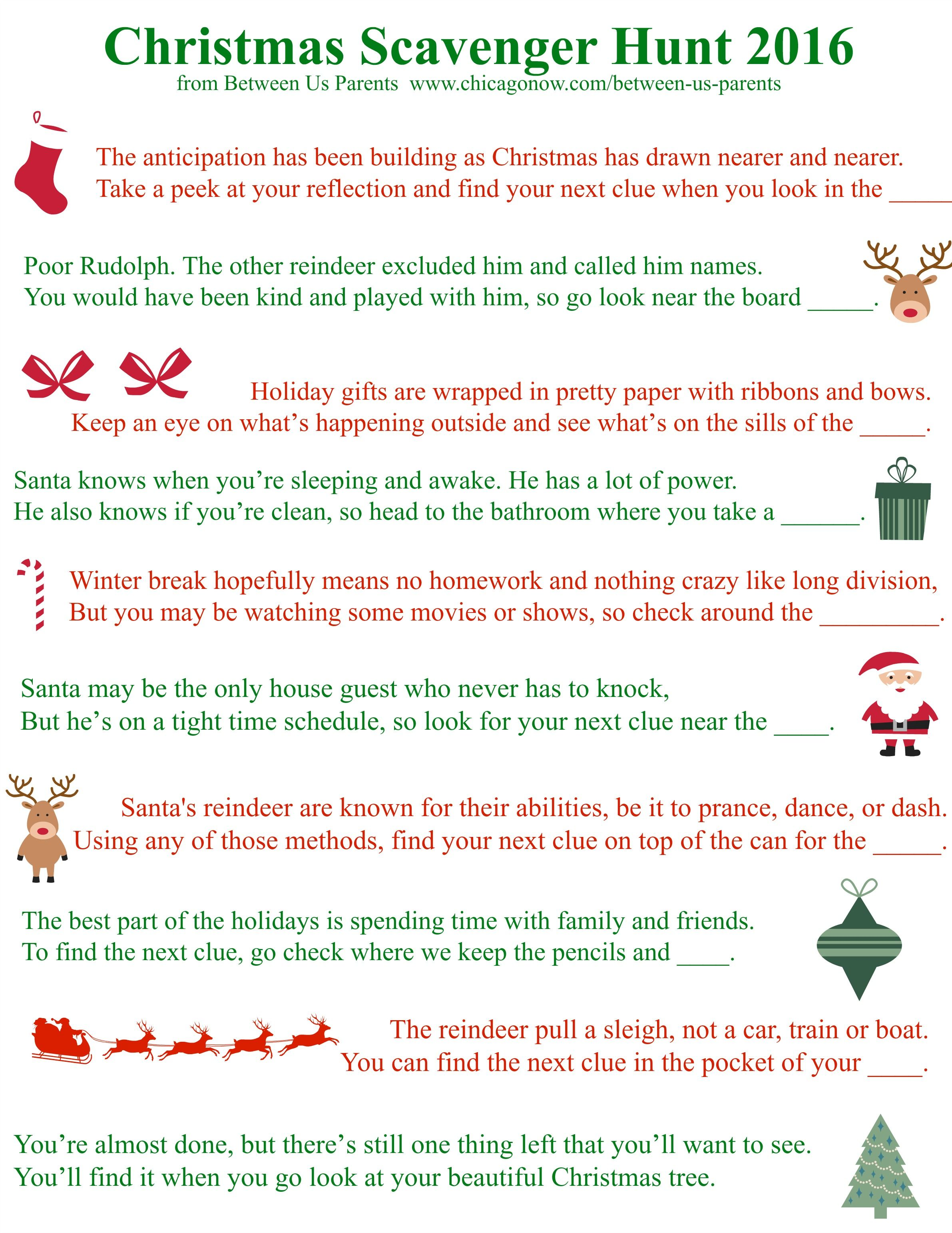 Printable Christmas Scavenger Hunt Clues, 2016 Edition