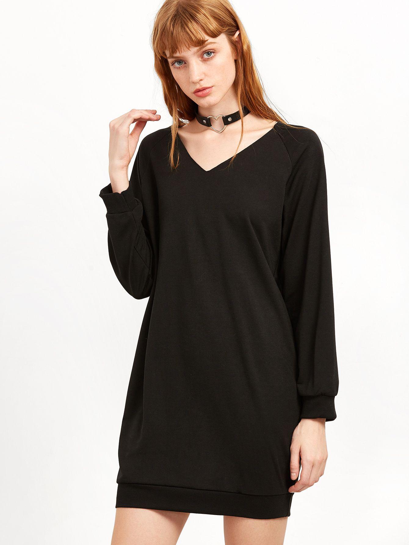 Adorewe shein dresses shein black v neck sweatshirt dress