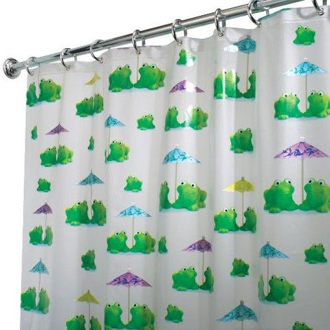 Interdesign Frogs Shower Curtain White Green 72x72 White