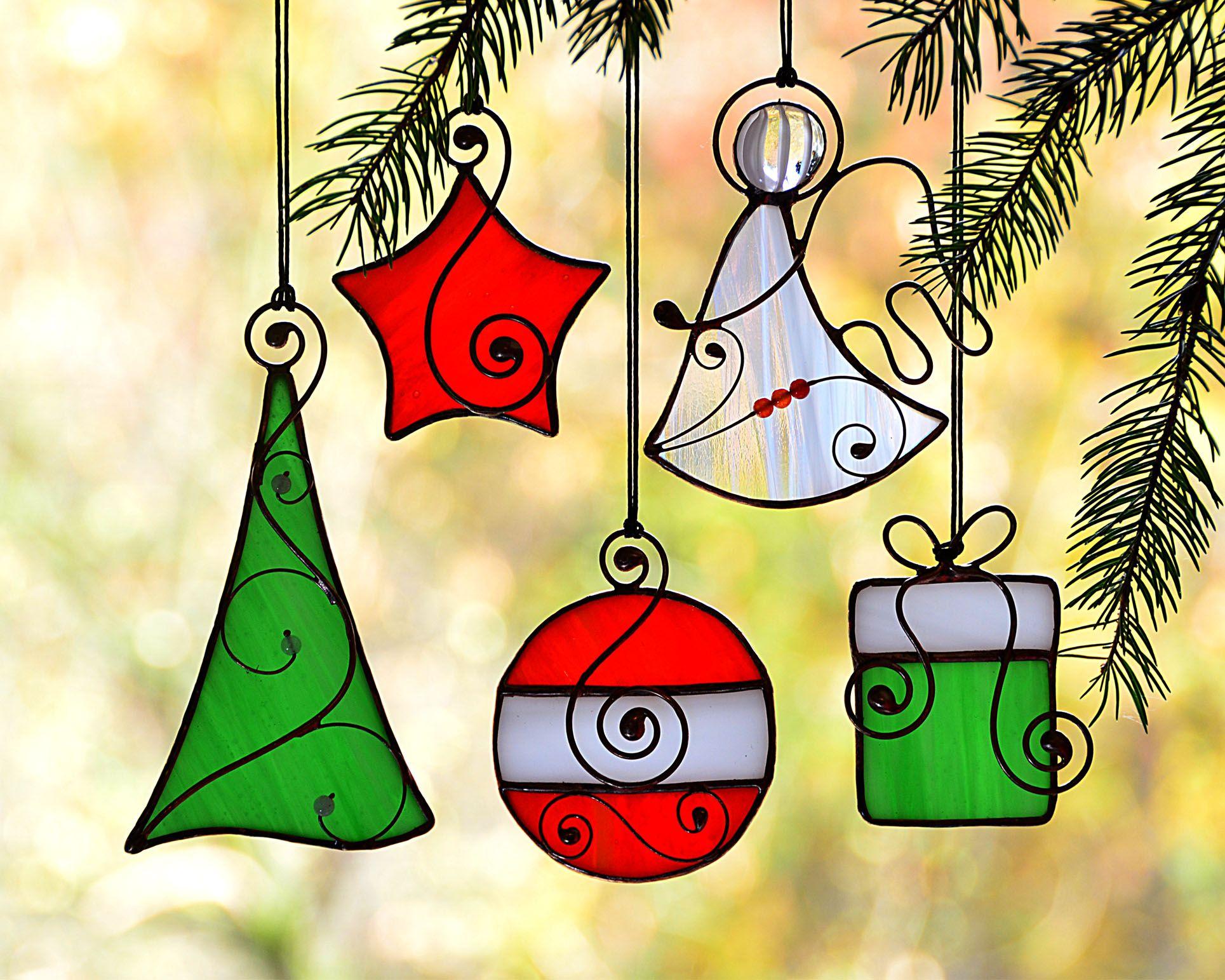 Stained glass Christmas set ornaments, Christmas suncatcher ...