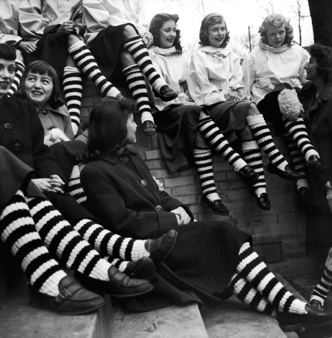 Caption from LIFE. Striped stockings are worn by all the members of a girl's club at the Austin High School in Chicago ,1948
