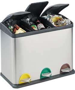 45 Litre Recycling Pedal Bin With 3 Compartments.