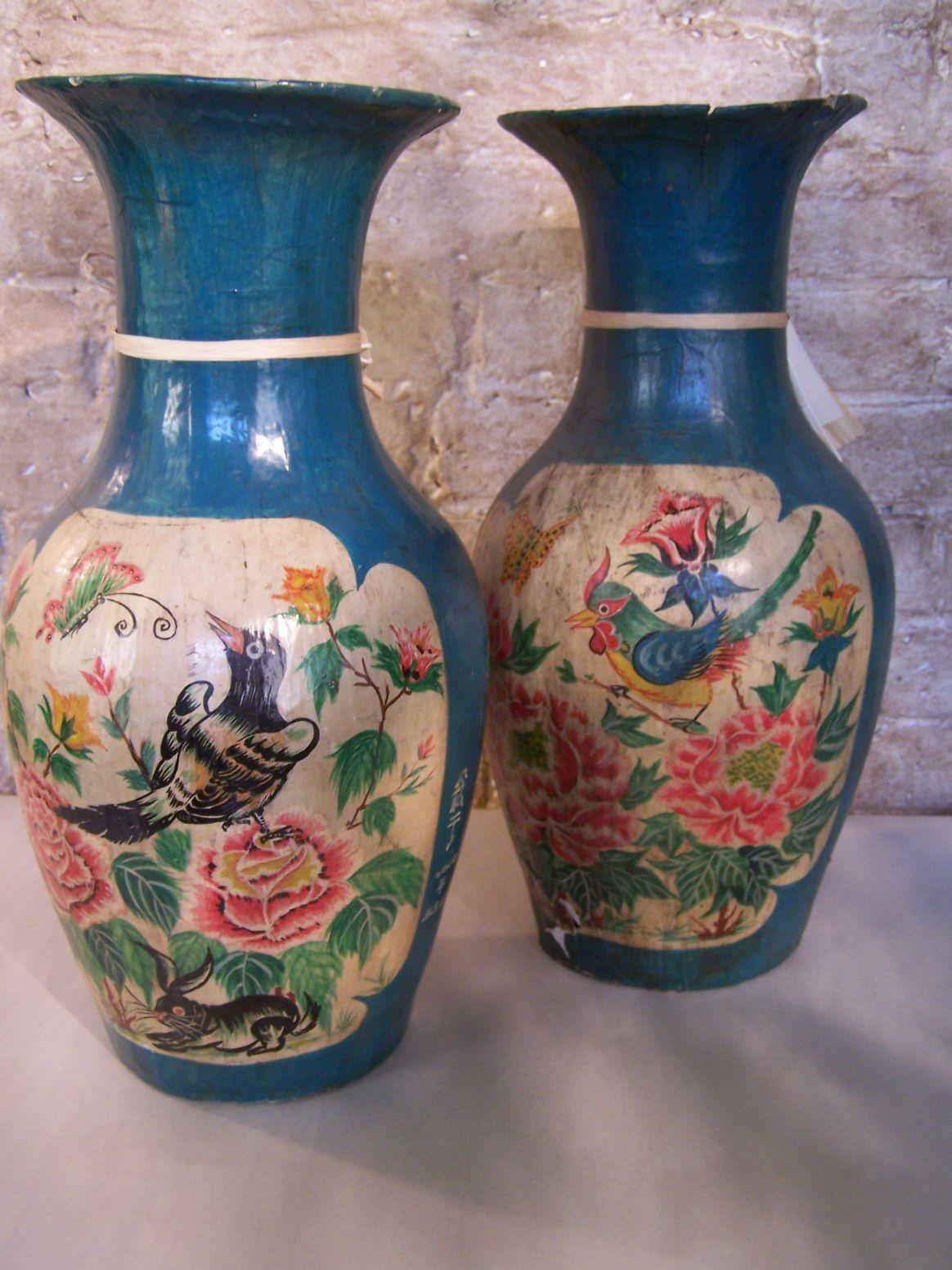 Pair of chinese paper mache vases chinese paper paper mache and pair of chinese paper mache vases ebay reviewsmspy