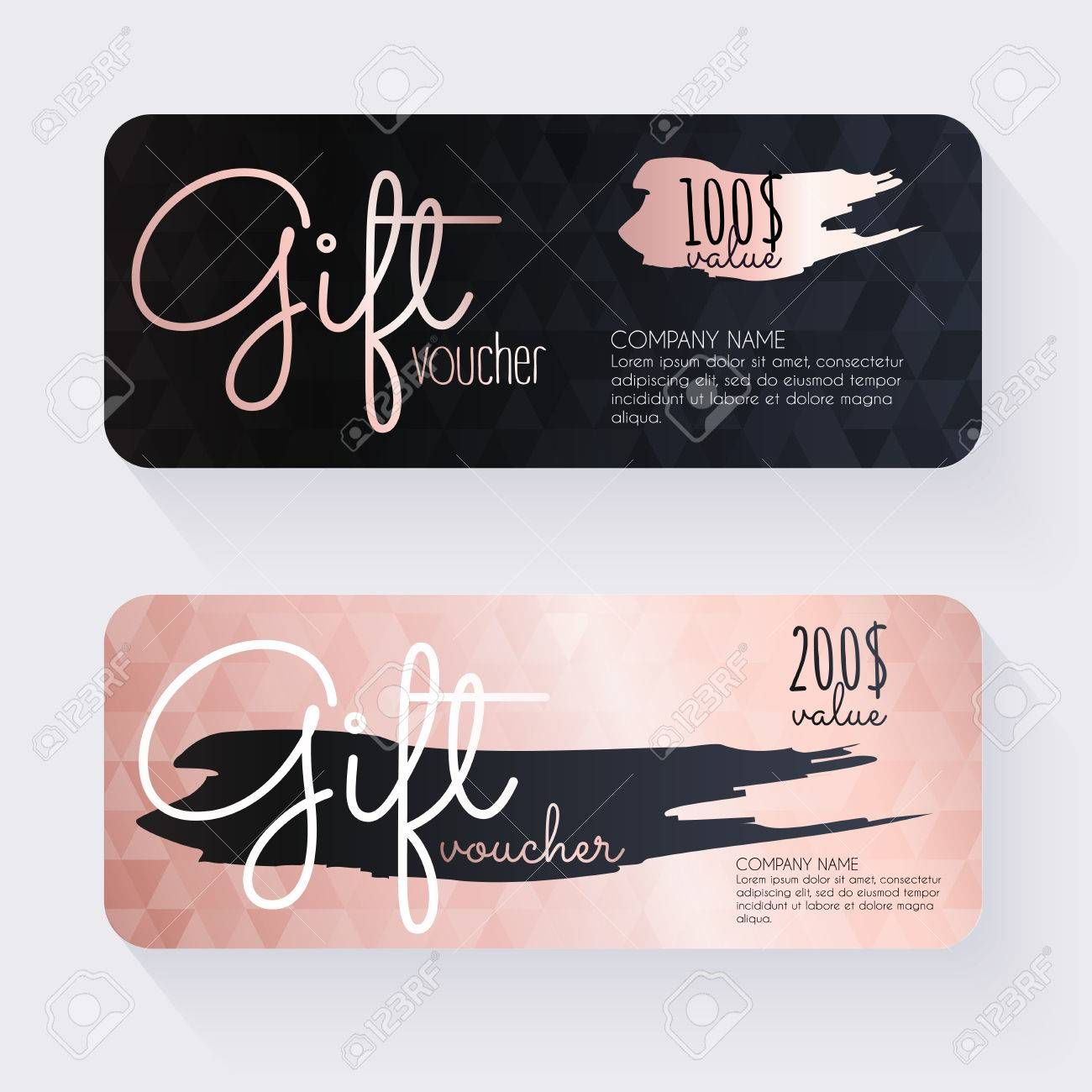 Gift Voucher Template With Rose Gold Gift Background Gift