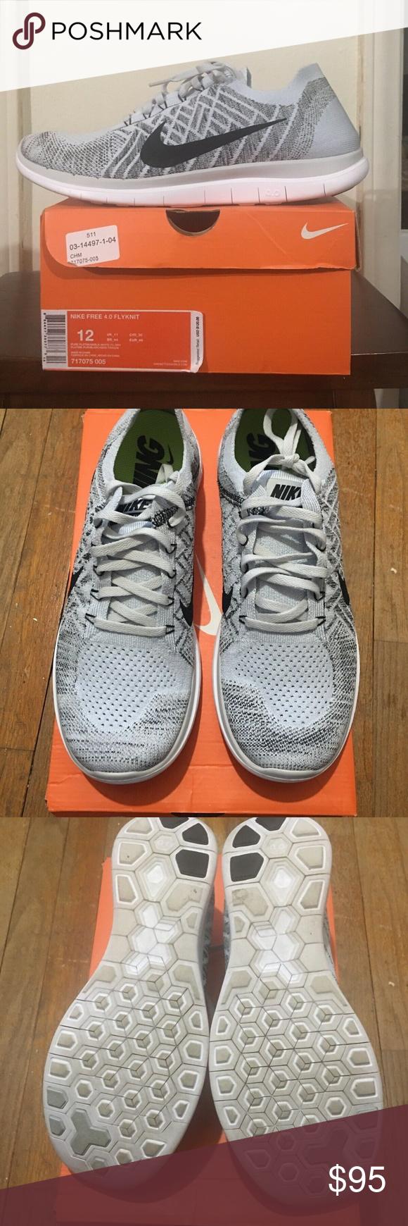 Nike Men's Free 4.0 Flyknit Running Shoe, Pure PlatinumBlk