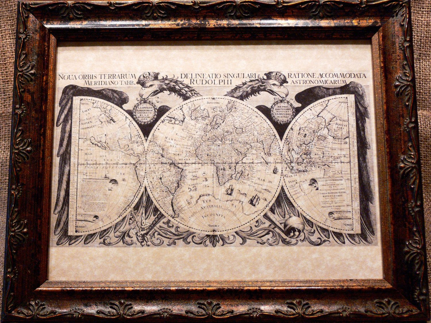 World map print of a 1630 map on parchment paper for the home world map print of a 1630 map on parchment paper gumiabroncs Gallery