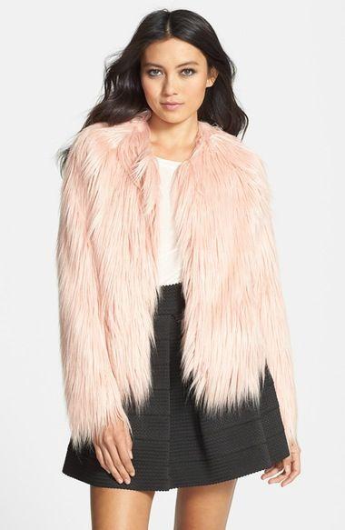 Main Image - Mural Pink Faux Fur Coat
